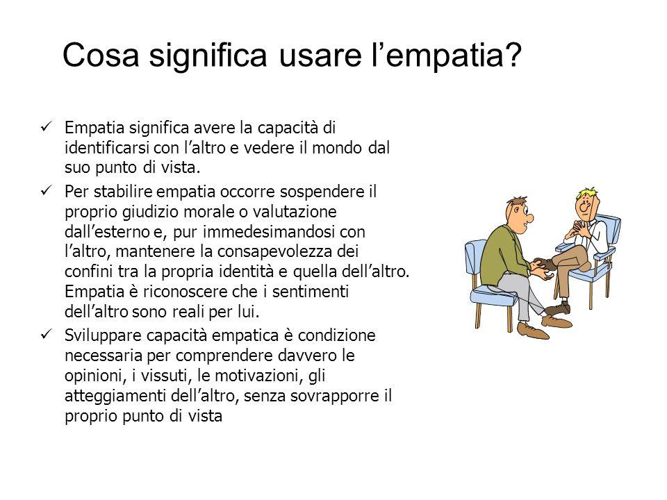 Cosa significa usare lempatia? Empatia significa avere la capacità di identificarsi con laltro e vedere il mondo dal suo punto di vista. Per stabilire