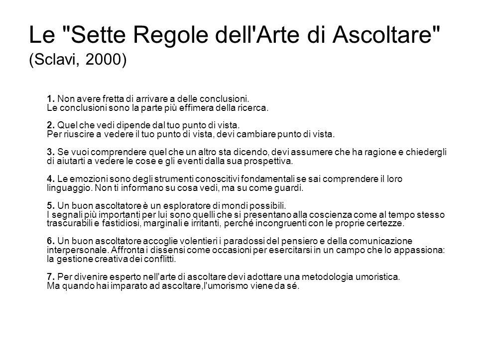Le Sette Regole dell Arte di Ascoltare (Sclavi, 2000) 1.