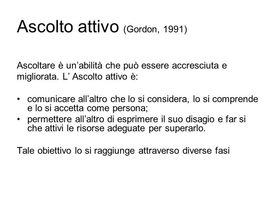 Ascolto attivo (Gordon, 1991) Ascoltare è unabilità che può essere accresciuta e migliorata. L Ascolto attivo è: comunicare allaltro che lo si conside