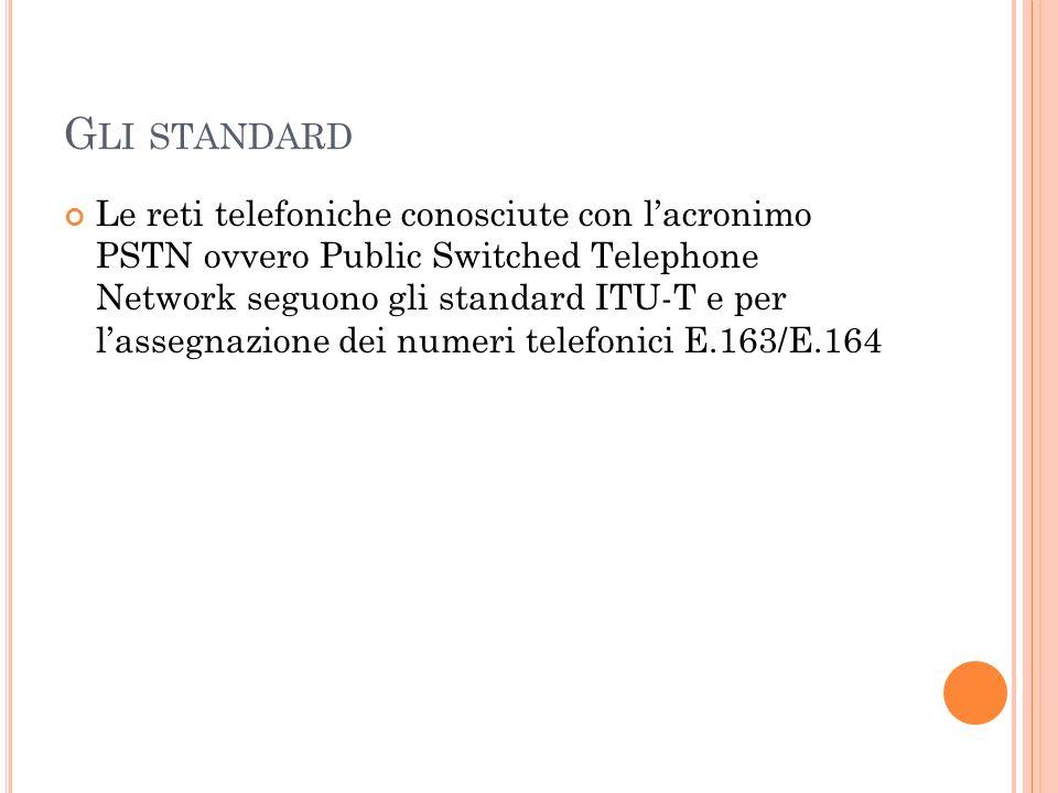 G LI STANDARD Le reti telefoniche conosciute con lacronimo PSTN ovvero Public Switched Telephone Network seguono gli standard ITU-T e per lassegnazion