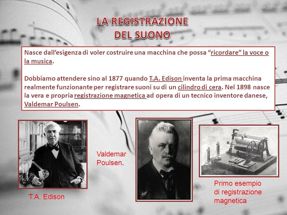 Nasce dallesigenza di voler costruire una macchina che possa ricordare la voce o la musica. Dobbiamo attendere sino al 1877 quando T.A. Edison inventa