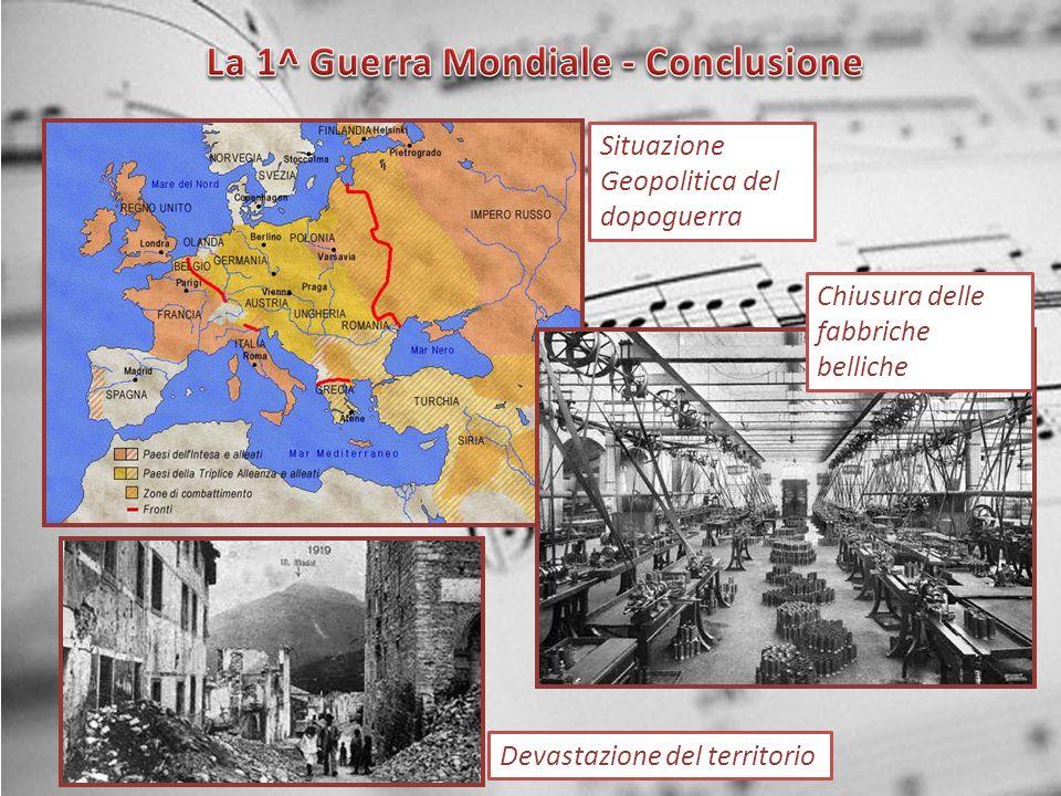 Situazione Geopolitica del dopoguerra Devastazione del territorio Chiusura delle fabbriche belliche