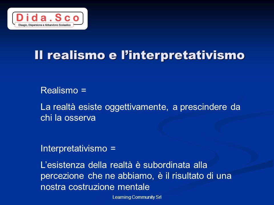 Learning Community Srl Il realismo e linterpretativismo Realismo = La realtà esiste oggettivamente, a prescindere da chi la osserva Interpretativismo = Lesistenza della realtà è subordinata alla percezione che ne abbiamo, è il risultato di una nostra costruzione mentale