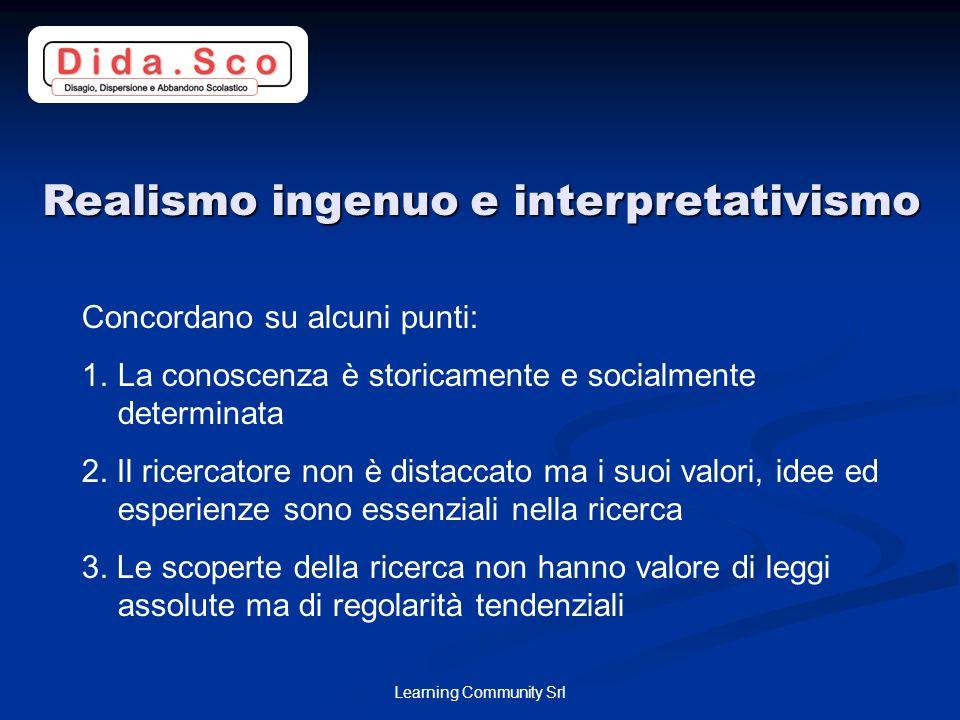 Learning Community Srl Realismo ingenuo e interpretativismo Concordano su alcuni punti: 1.La conoscenza è storicamente e socialmente determinata 2.