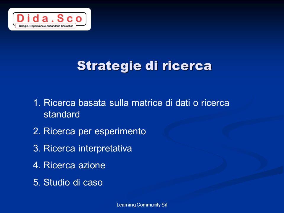 Learning Community Srl Strategie di ricerca 1.Ricerca basata sulla matrice di dati o ricerca standard 2.