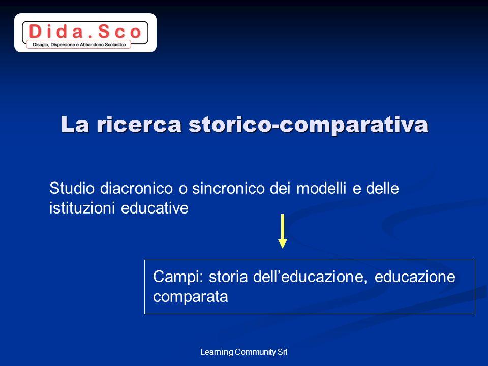 Learning Community Srl La ricerca storico-comparativa Studio diacronico o sincronico dei modelli e delle istituzioni educative Campi: storia delleducazione, educazione comparata