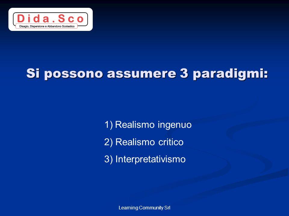 Learning Community Srl Si possono assumere 3 paradigmi: 1)Realismo ingenuo 2) Realismo critico 3) Interpretativismo