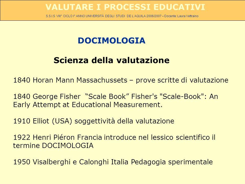 S.S.I.S VIII° CICLO I° ANNO UNIVERSITÀ DEGLI STUDI DE LAQUILA 2006/2007 – Docente: Laura Vettraino VALUTARE I PROCESSI EDUCATIVI DOCIMOLOGIA Scienza d