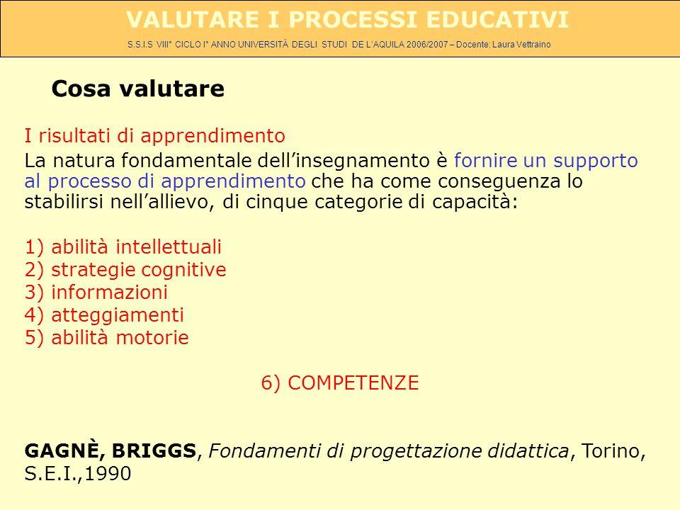 S.S.I.S VIII° CICLO I° ANNO UNIVERSITÀ DEGLI STUDI DE LAQUILA 2006/2007 – Docente: Laura Vettraino VALUTARE I PROCESSI EDUCATIVI I risultati di apprendimento La natura fondamentale dellinsegnamento è fornire un supporto al processo di apprendimento che ha come conseguenza lo stabilirsi nellallievo, di cinque categorie di capacità: 1) abilità intellettuali 2) strategie cognitive 3) informazioni 4) atteggiamenti 5) abilità motorie 6) COMPETENZE GAGNÈ, BRIGGS, Fondamenti di progettazione didattica, Torino, S.E.I.,1990 Cosa valutare