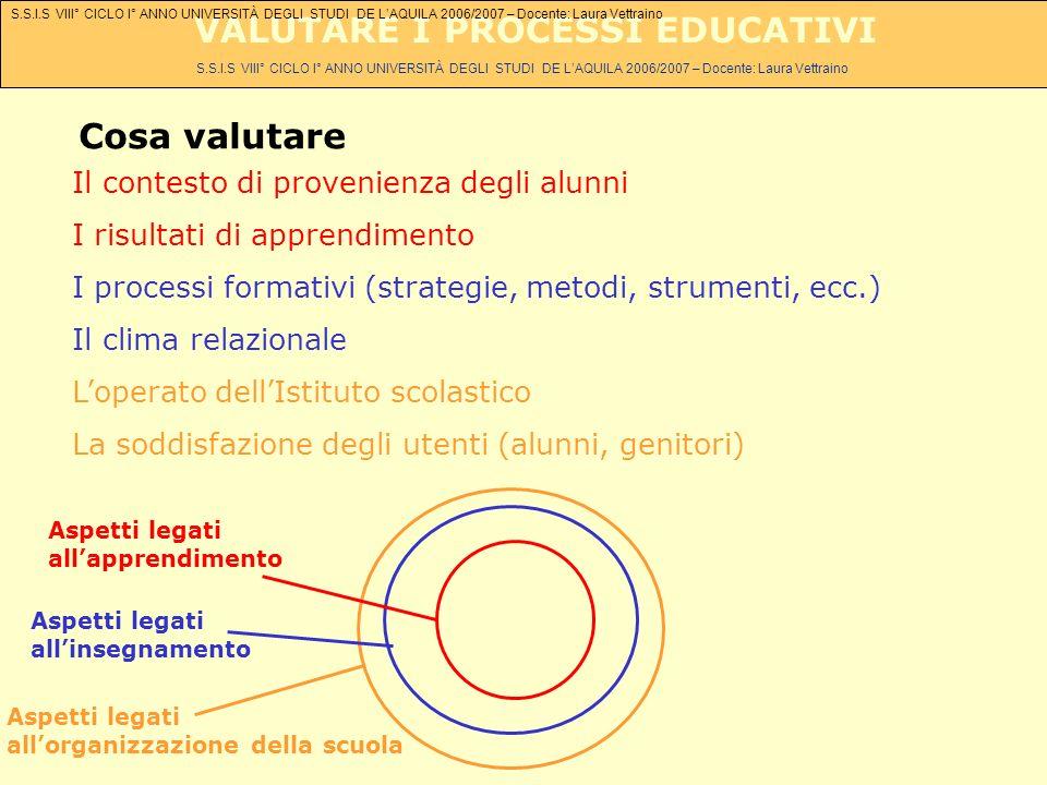 S.S.I.S VIII° CICLO I° ANNO UNIVERSITÀ DEGLI STUDI DE LAQUILA 2006/2007 – Docente: Laura Vettraino VALUTARE I PROCESSI EDUCATIVI Cosa valutare Il cont