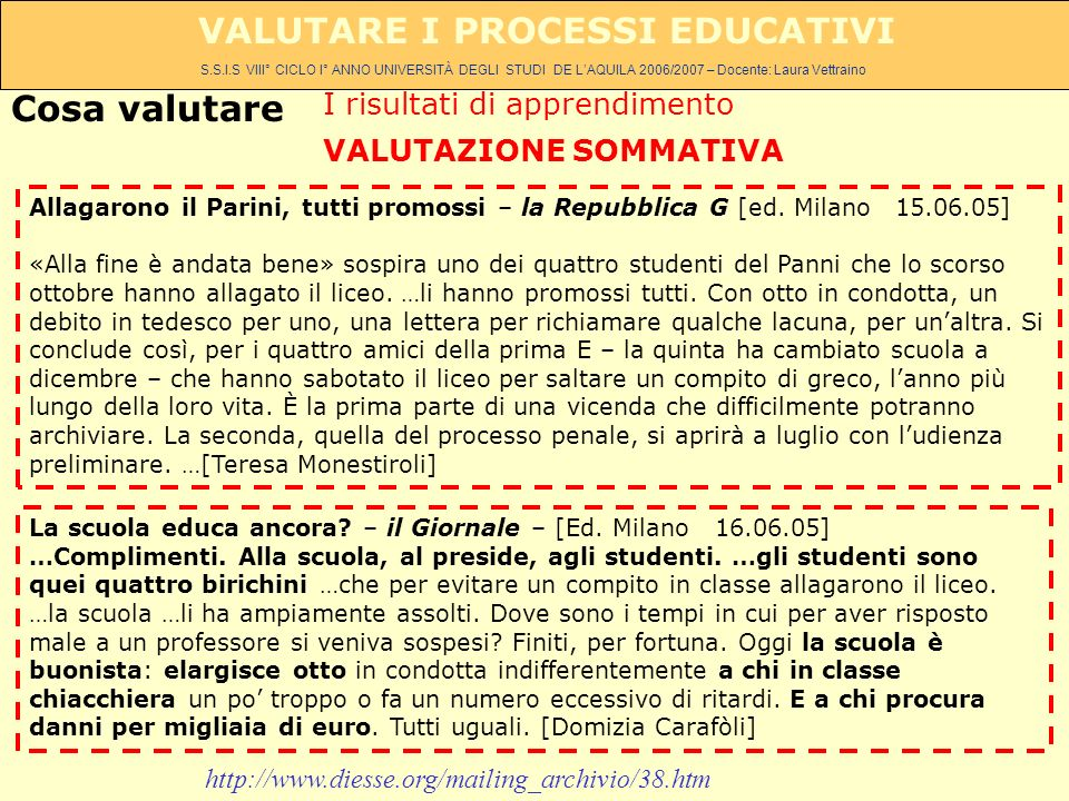 S.S.I.S VIII° CICLO I° ANNO UNIVERSITÀ DEGLI STUDI DE LAQUILA 2006/2007 – Docente: Laura Vettraino VALUTARE I PROCESSI EDUCATIVI Allagarono il Parini, tutti promossi – la Repubblica G [ed.