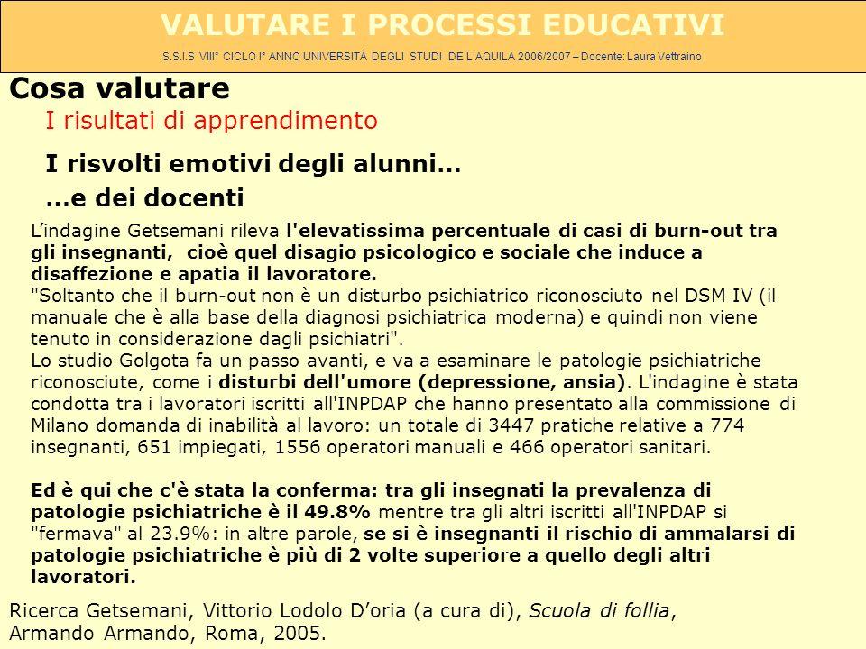 S.S.I.S VIII° CICLO I° ANNO UNIVERSITÀ DEGLI STUDI DE LAQUILA 2006/2007 – Docente: Laura Vettraino VALUTARE I PROCESSI EDUCATIVI I risultati di appren