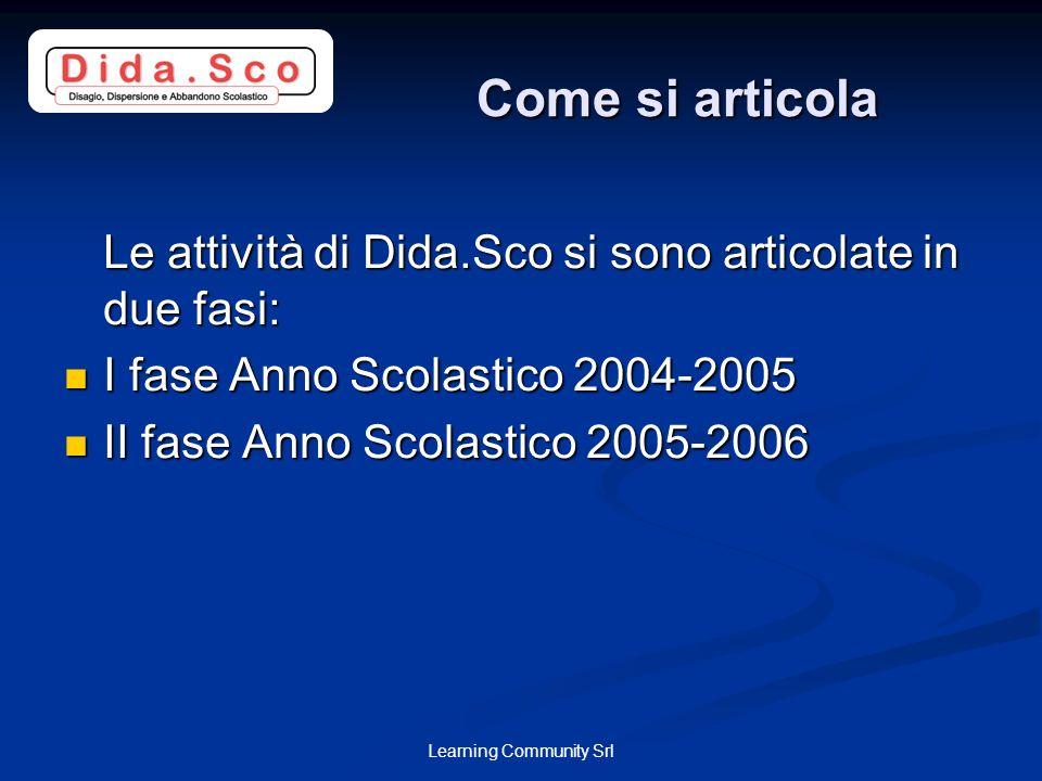 Learning Community Srl Come si articola Le attività di Dida.Sco si sono articolate in due fasi: I fase Anno Scolastico 2004-2005 I fase Anno Scolastic