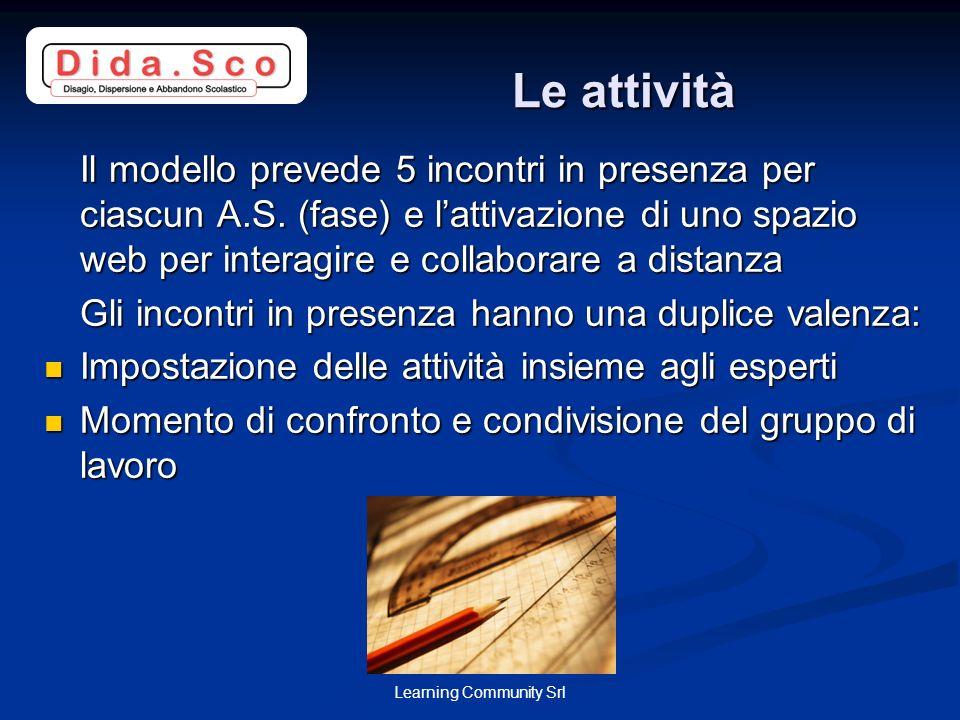 Learning Community Srl Le attività Il modello prevede 5 incontri in presenza per ciascun A.S. (fase) e lattivazione di uno spazio web per interagire e