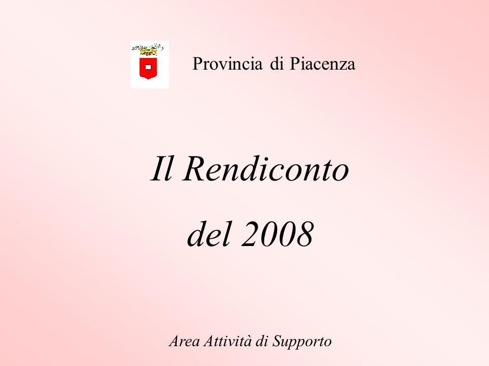 Il Rendiconto del 2008 Area Attività di Supporto Provincia di Piacenza