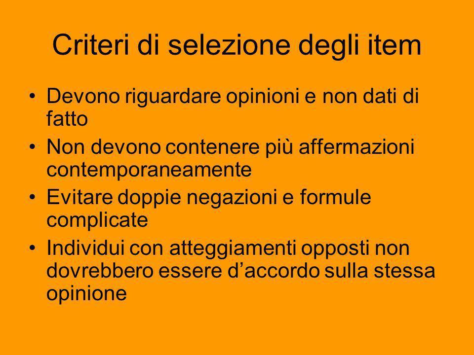 Criteri di selezione degli item Devono riguardare opinioni e non dati di fatto Non devono contenere più affermazioni contemporaneamente Evitare doppie