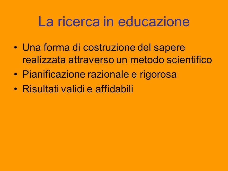 La ricerca in educazione Una forma di costruzione del sapere realizzata attraverso un metodo scientifico Pianificazione razionale e rigorosa Risultati