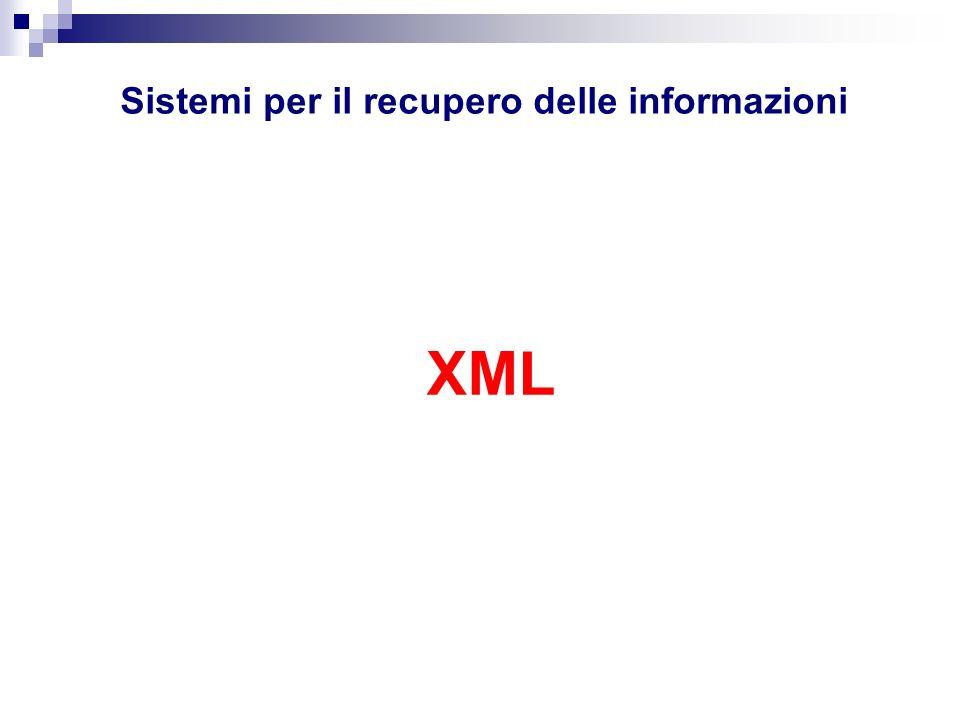 XML Schema: elementi e struttura XML schema prevede il tag per la definizione degli elementi utilizzabili in un documento XML, specificando nellattributo name il nome del relativo tag.