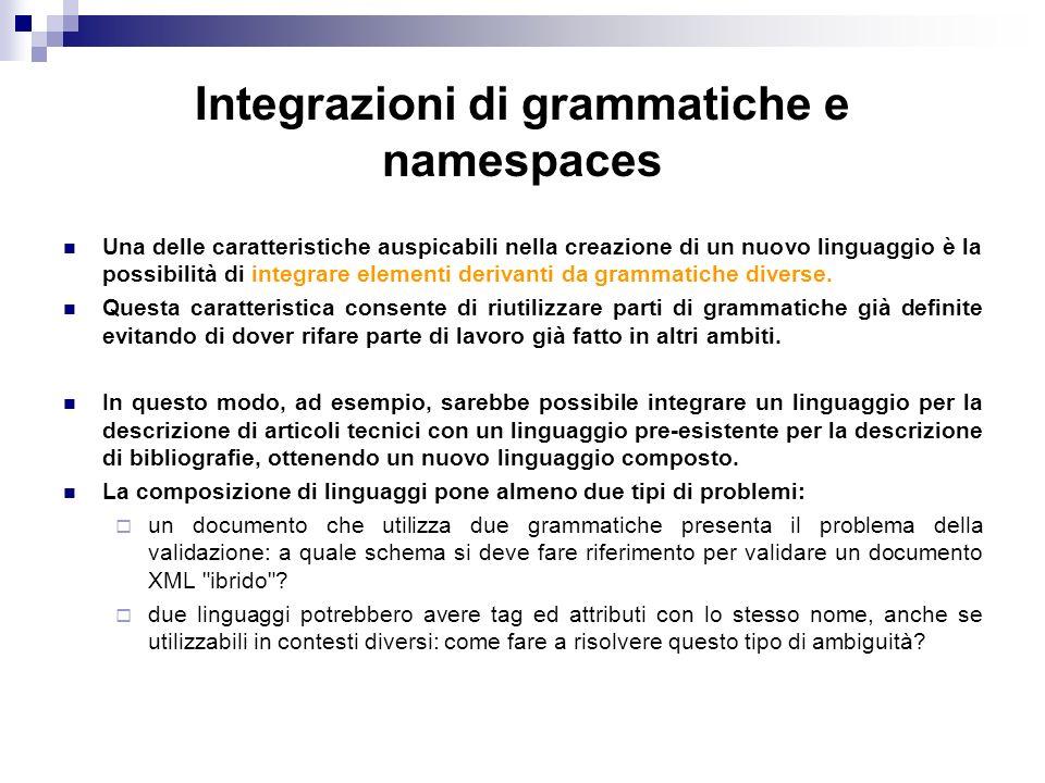 Integrazioni di grammatiche e namespaces Una delle caratteristiche auspicabili nella creazione di un nuovo linguaggio è la possibilità di integrare elementi derivanti da grammatiche diverse.