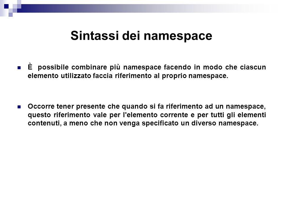 Sintassi dei namespace È possibile combinare più namespace facendo in modo che ciascun elemento utilizzato faccia riferimento al proprio namespace.