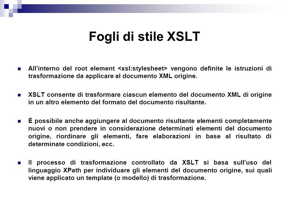 Fogli di stile XSLT All interno del root element vengono definite le istruzioni di trasformazione da applicare al documento XML origine.