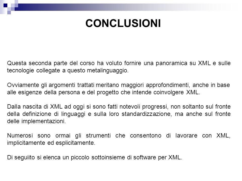 CONCLUSIONI Questa seconda parte del corso ha voluto fornire una panoramica su XML e sulle tecnologie collegate a questo metalinguaggio.