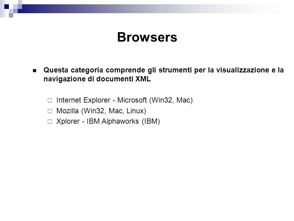 Browsers Questa categoria comprende gli strumenti per la visualizzazione e la navigazione di documenti XML Internet Explorer - Microsoft (Win32, Mac) Mozilla (Win32, Mac, Linux) Xplorer - IBM Alphaworks (IBM)