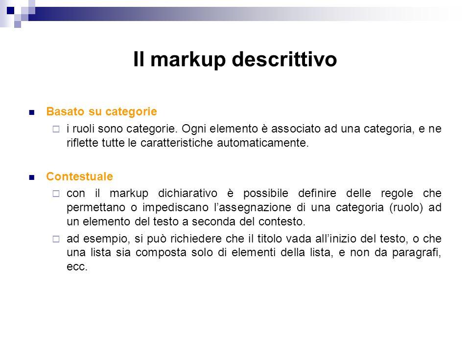 Il markup descrittivo Basato su categorie i ruoli sono categorie.