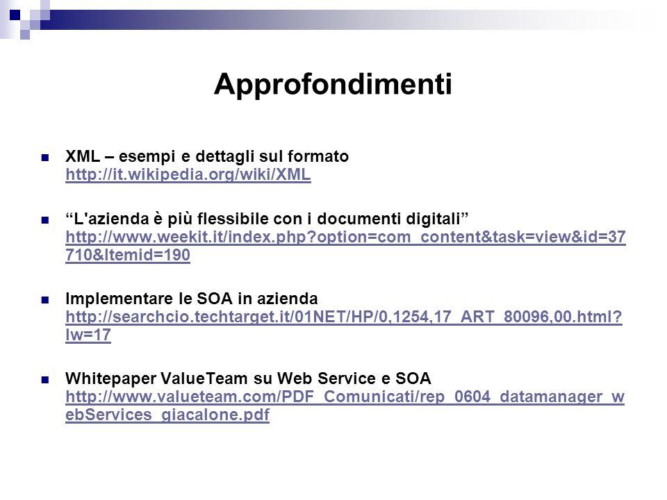 Approfondimenti XML – esempi e dettagli sul formato http://it.wikipedia.org/wiki/XML http://it.wikipedia.org/wiki/XML L azienda è più flessibile con i documenti digitali http://www.weekit.it/index.php option=com_content&task=view&id=37 710&Itemid=190 http://www.weekit.it/index.php option=com_content&task=view&id=37 710&Itemid=190 Implementare le SOA in azienda http://searchcio.techtarget.it/01NET/HP/0,1254,17_ART_80096,00.html.