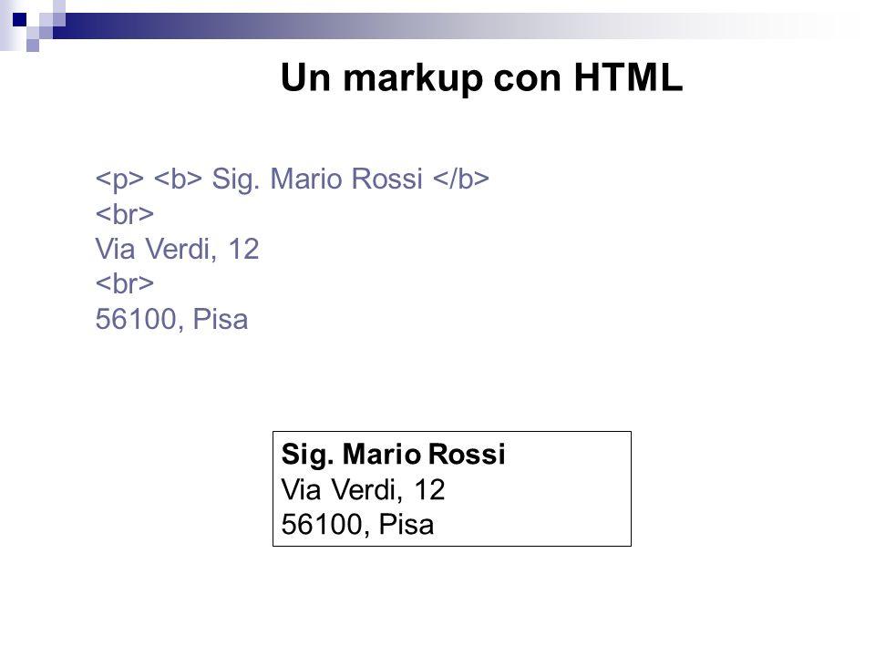 Sig. Mario Rossi Via Verdi, 12 56100, Pisa Un markup con HTML Sig.