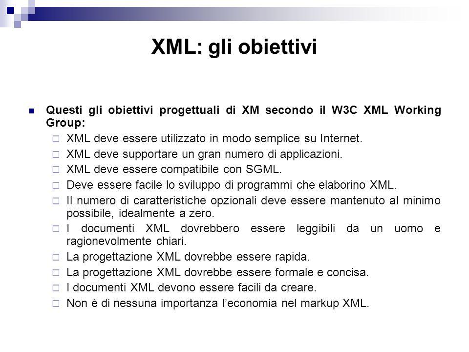 XML: gli obiettivi Questi gli obiettivi progettuali di XM secondo il W3C XML Working Group: XML deve essere utilizzato in modo semplice su Internet.