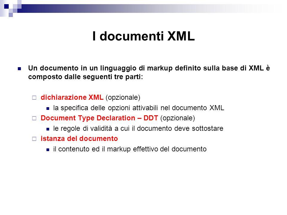 I documenti XML Un documento in un linguaggio di markup definito sulla base di XML è composto dalle seguenti tre parti: dichiarazione XML (opzionale) la specifica delle opzioni attivabili nel documento XML Document Type Declaration – DDT (opzionale) le regole di validità a cui il documento deve sottostare istanza del documento il contenuto ed il markup effettivo del documento