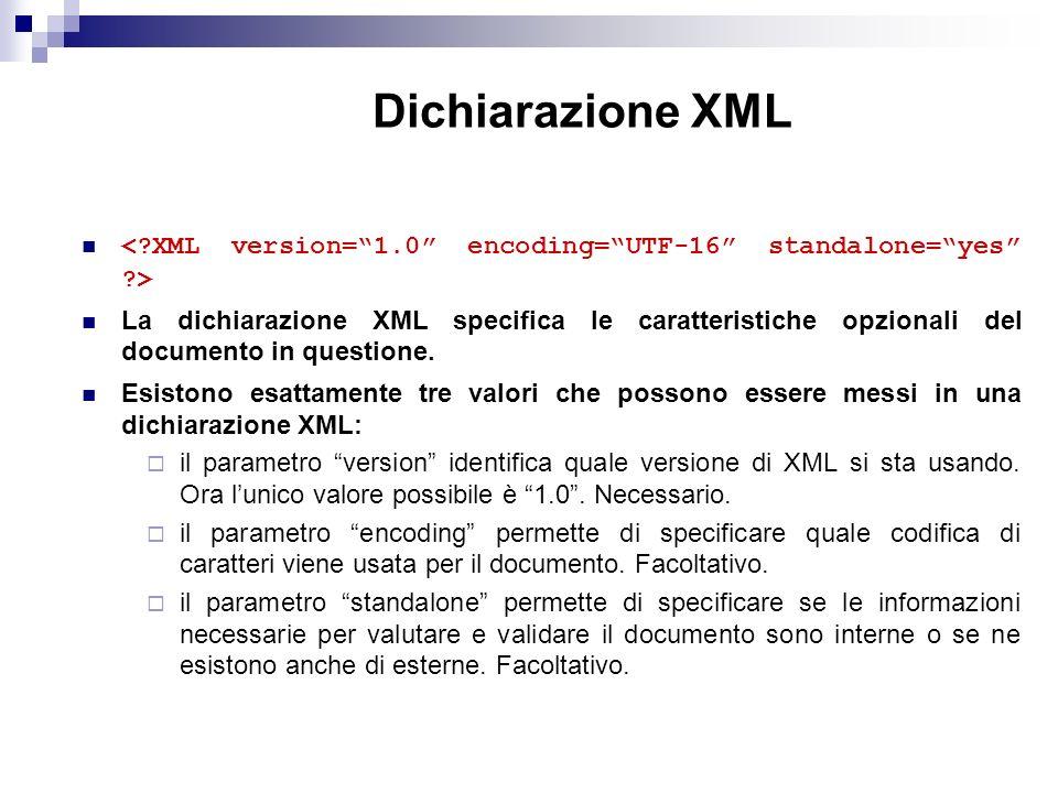 Dichiarazione XML La dichiarazione XML specifica le caratteristiche opzionali del documento in questione.