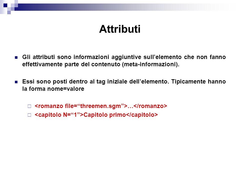 Gli attributi sono informazioni aggiuntive sullelemento che non fanno effettivamente parte del contenuto (meta-informazioni).