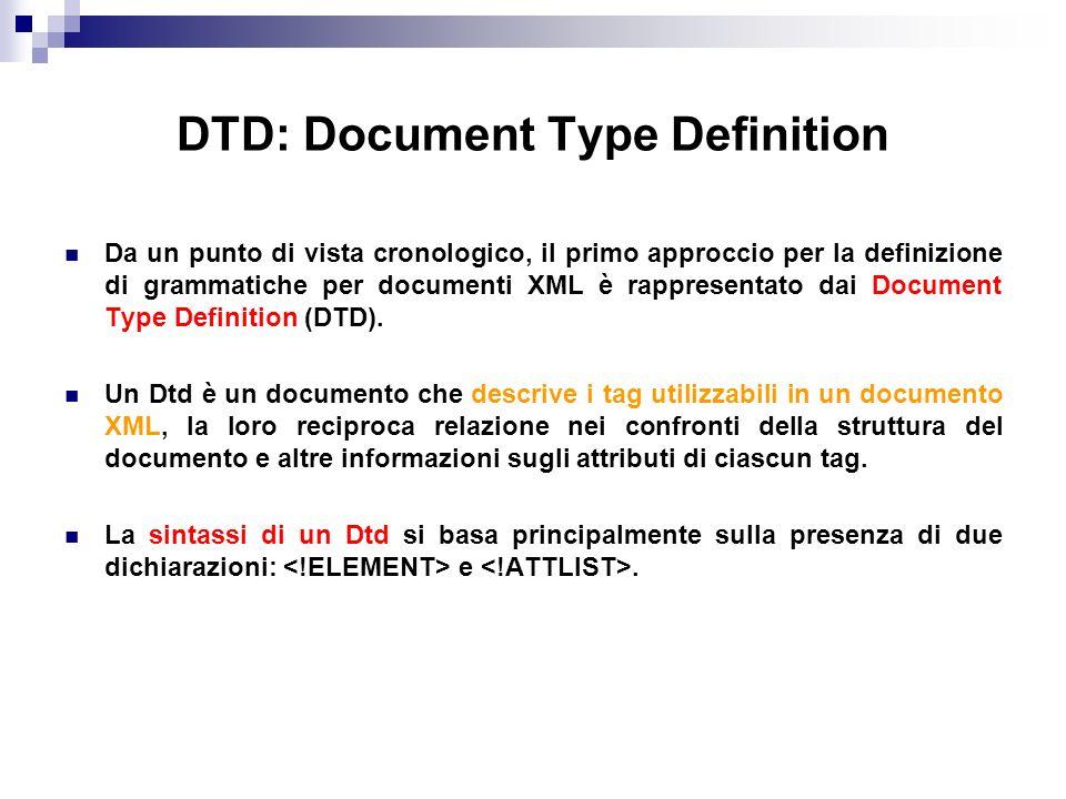 DTD: Document Type Definition Da un punto di vista cronologico, il primo approccio per la definizione di grammatiche per documenti XML è rappresentato dai Document Type Definition (DTD).