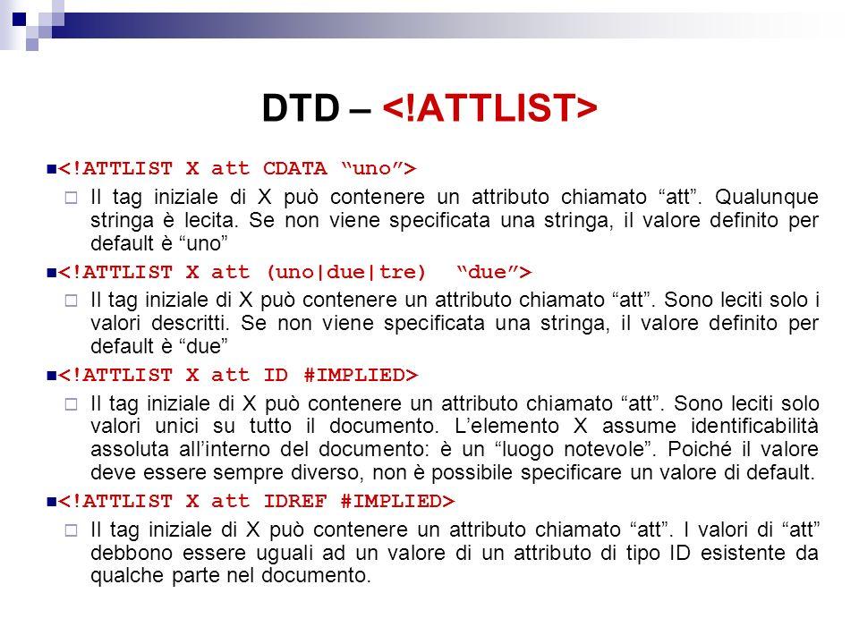 DTD – Il tag iniziale di X può contenere un attributo chiamato att.