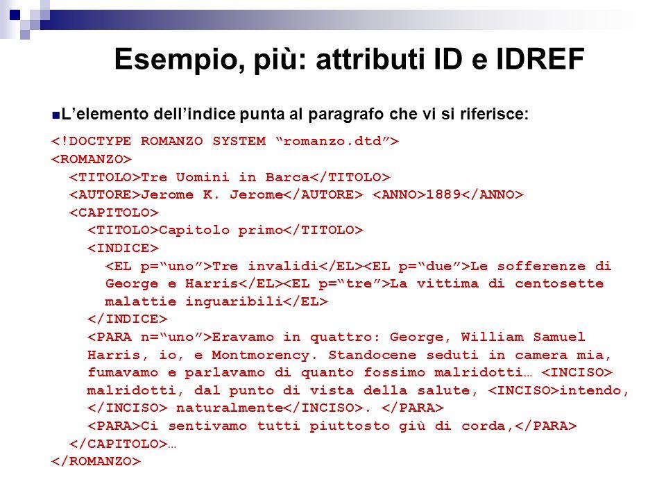 Esempio, più: attributi ID e IDREF Lelemento dellindice punta al paragrafo che vi si riferisce: Tre Uomini in Barca Jerome K.