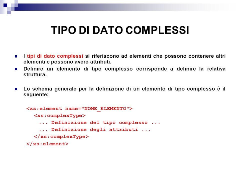 TIPO DI DATO COMPLESSI I tipi di dato complessi si riferiscono ad elementi che possono contenere altri elementi e possono avere attributi.