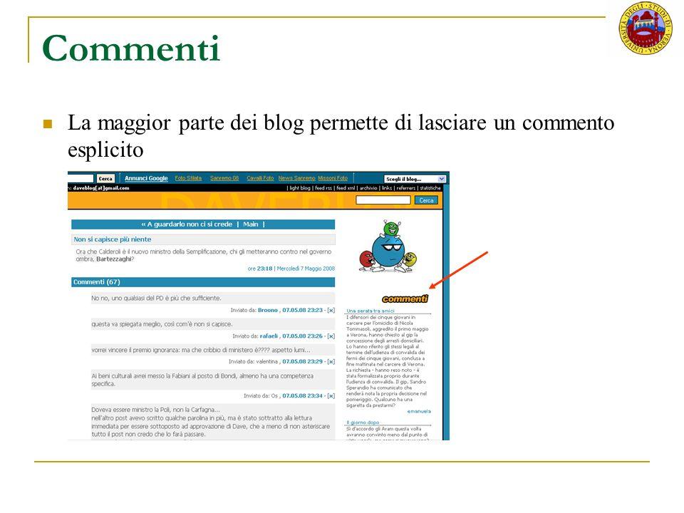 Commenti La maggior parte dei blog permette di lasciare un commento esplicito