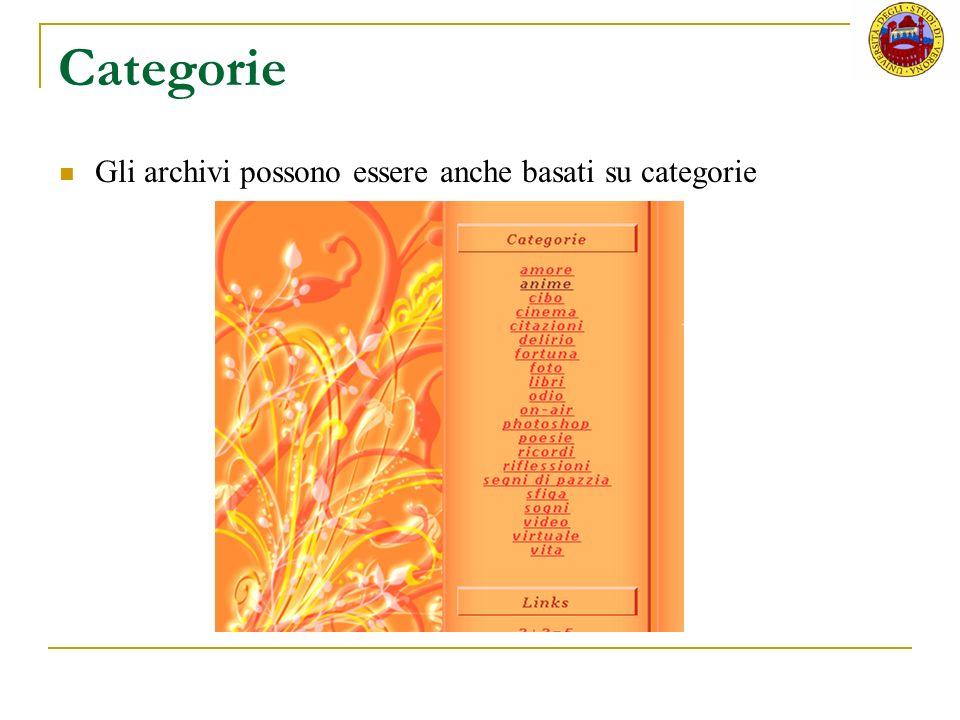 Categorie Gli archivi possono essere anche basati su categorie