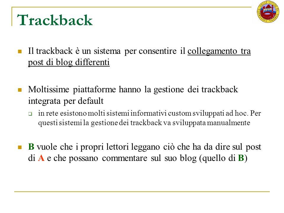 Trackback Il trackback è un sistema per consentire il collegamento tra post di blog differenti Moltissime piattaforme hanno la gestione dei trackback integrata per default in rete esistono molti sistemi informativi custom sviluppati ad hoc.