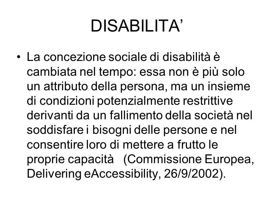 DISABILITA La concezione sociale di disabilità è cambiata nel tempo: essa non è più solo un attributo della persona, ma un insieme di condizioni poten