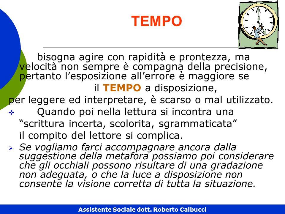 TEMPO bisogna agire con rapidità e prontezza, ma velocità non sempre è compagna della precisione, pertanto lesposizione allerrore è maggiore se il TEMPO a disposizione, per leggere ed interpretare, è scarso o mal utilizzato.