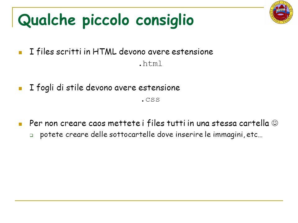 Qualche piccolo consiglio I files scritti in HTML devono avere estensione.html I fogli di stile devono avere estensione.css Per non creare caos mettete i files tutti in una stessa cartella potete creare delle sottocartelle dove inserire le immagini, etc…