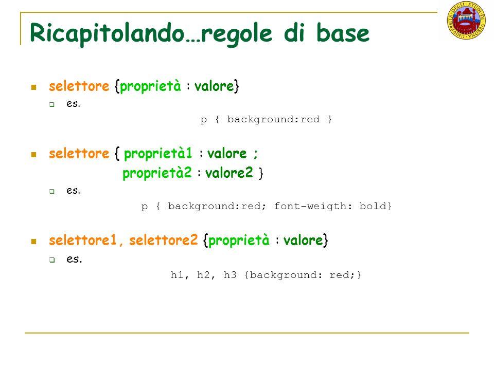 Ricapitolando…regole di base selettore {proprietà : valore} es.