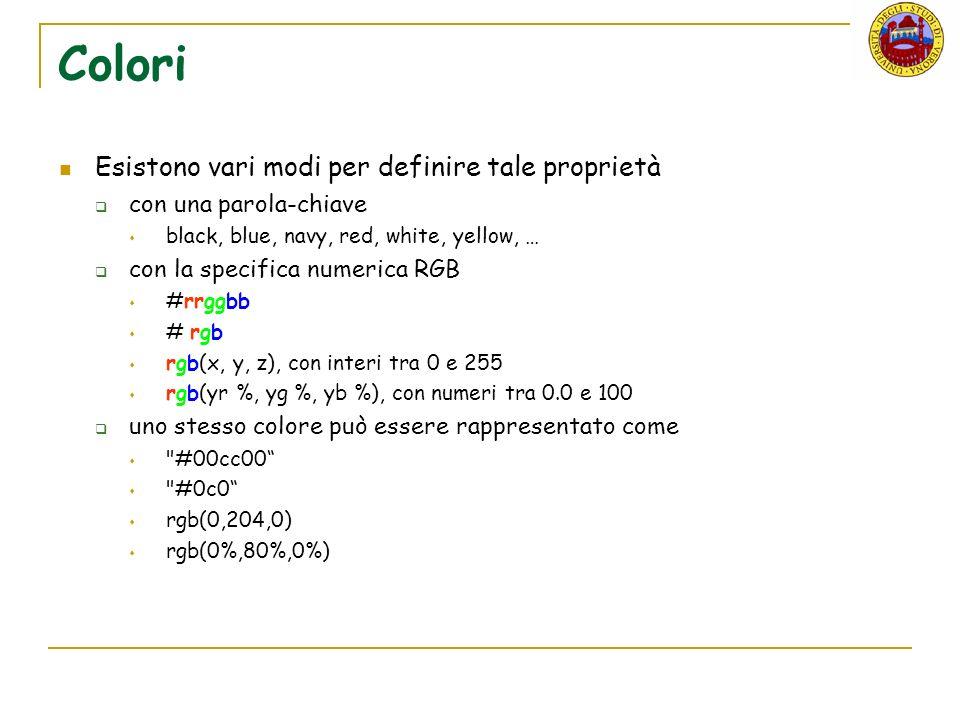 Colori Esistono vari modi per definire tale proprietà con una parola-chiave black, blue, navy, red, white, yellow, … con la specifica numerica RGB #rrggbb # rgb rgb(x, y, z), con interi tra 0 e 255 rgb(yr %, yg %, yb %), con numeri tra 0.0 e 100 uno stesso colore può essere rappresentato come #00cc00 #0c0 rgb(0,204,0) rgb(0%,80%,0%)