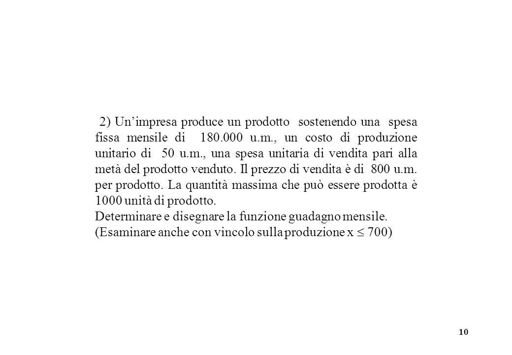 10 2) Unimpresa produce un prodotto sostenendo una spesa fissa mensile di 180.000 u.m., un costo di produzione unitario di 50 u.m., una spesa unitaria