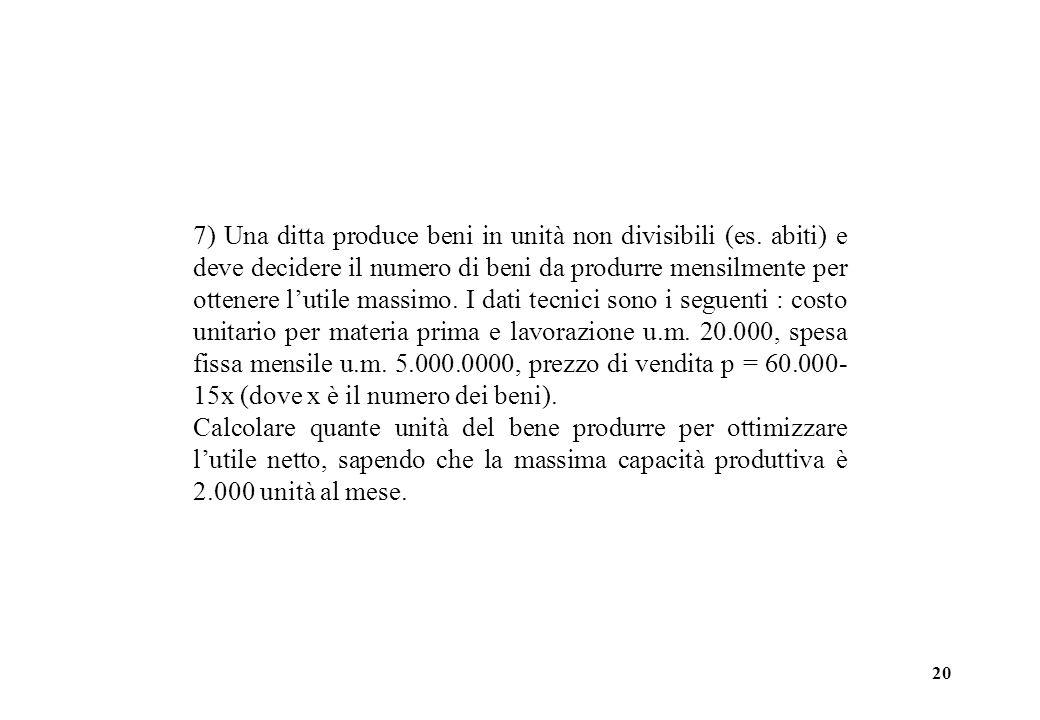 20 7) Una ditta produce beni in unità non divisibili (es. abiti) e deve decidere il numero di beni da produrre mensilmente per ottenere lutile massimo