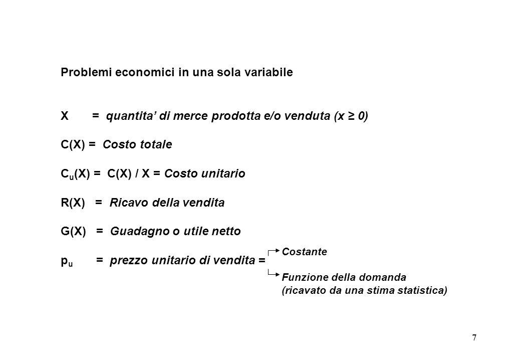 7 Problemi economici in una sola variabile X = quantita di merce prodotta e/o venduta (x 0) C(X) = Costo totale C u (X) = C(X) / X = Costo unitario R(