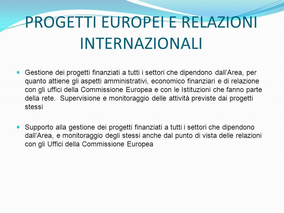 PROGETTI EUROPEI E RELAZIONI INTERNAZIONALI Gestione dei progetti finanziati a tutti i settori che dipendono dallArea, per quanto attiene gli aspetti amministrativi, economico finanziari e di relazione con gli uffici della Commissione Europea e con le Istituzioni che fanno parte della rete.